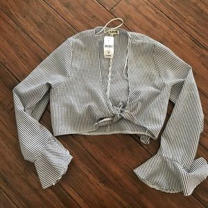 LF tie front striped cropped top
